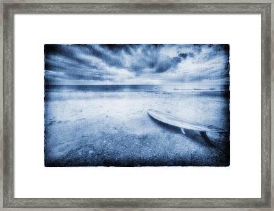 Surfboard On The Beach Framed Print by Skip Nall