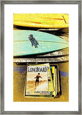 Surfboards And Magazines Framed Print