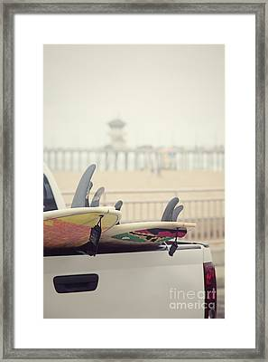 Surfboards In Back Of Truck Framed Print