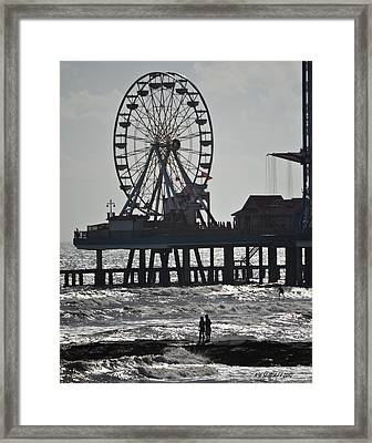 Surfer And Lovers At Pleasure Pier Framed Print