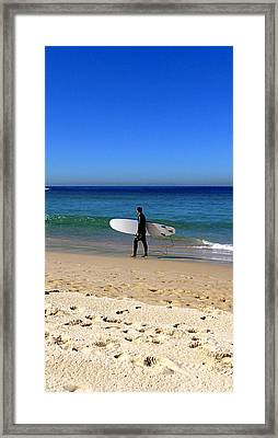 Surfer And The Beach Framed Print by Girish J
