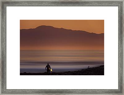 Framed Print featuring the photograph Surfer Approaching Rincon Mg_9505 by David Orias