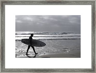 Surfer At Dusk Framed Print by Dawn Romine