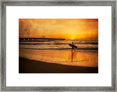 Surfer At Sunrise Framed Print