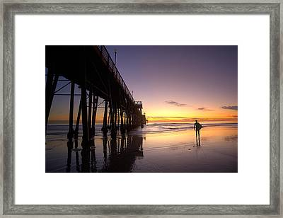 Surfer At Sunset Framed Print by Peter Tellone