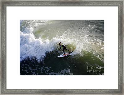 Surfer Boy Riding A Wave Framed Print by Catherine Sherman