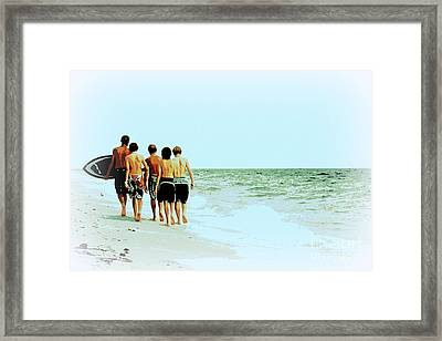 Framed Print featuring the digital art Surfer Boys by Valerie Reeves