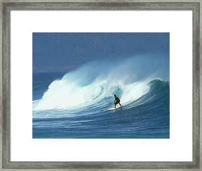 Surfer Catches A Good Ride Framed Print
