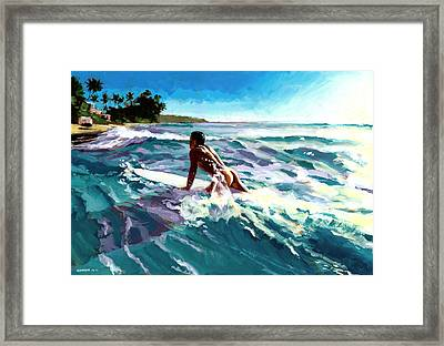 Surfer Coming In Framed Print by Douglas Simonson