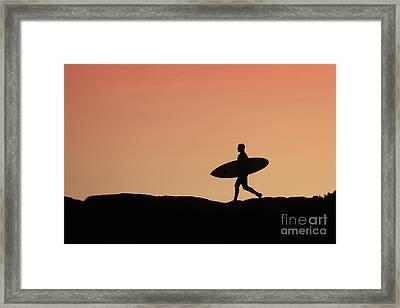Surfer Crossing Framed Print by Paul Topp