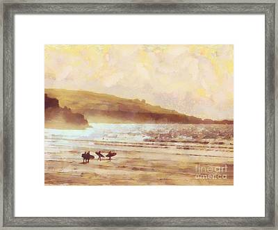 Surfer Dawn Framed Print by Pixel Chimp