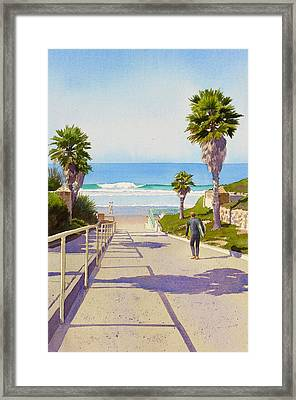 Surfer Dude At Fletcher Cove Framed Print