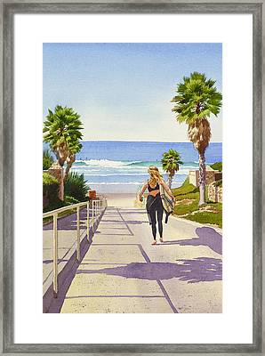 Surfer Girl At Fletcher Cove Framed Print by Mary Helmreich