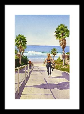 Surfer Girl Framed Prints