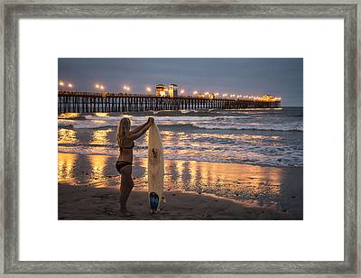 Surfer Girl At Oceanside Pier 1 Framed Print