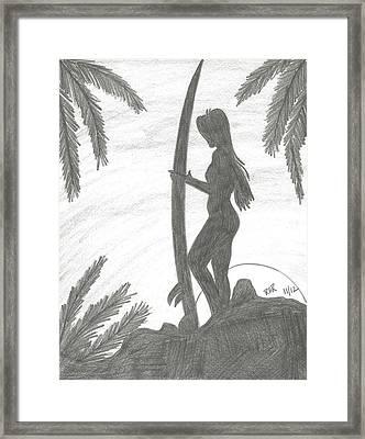 Surfer Girl Framed Print by Ray Ratzlaff