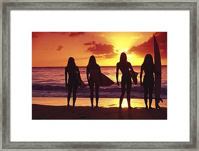 Surfer Girl Silhouettes Framed Print