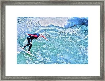 surfer in Eisbach River Framed Print