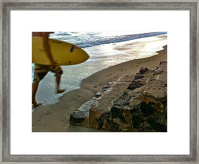 Surfer In Motion Framed Print by Kathy Corday