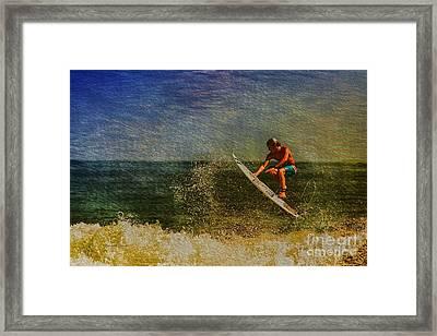Surfer In Oil Framed Print by Deborah Benoit