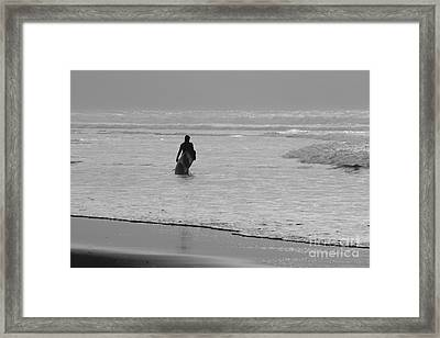 Surfer In The Mist Framed Print by Terri Waters