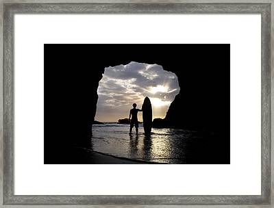 Surfer Inside A Cave At Muriwai New Framed Print
