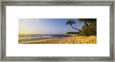 Surfer On Beach Hi Framed Print by Panoramic Images