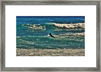 Framed Print featuring the photograph Surfer On His Way Up Waves by Julis Simo