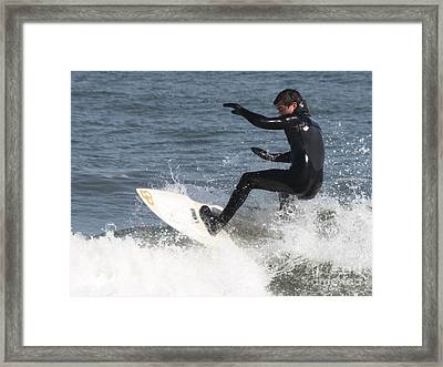 Framed Print featuring the photograph Surfer On White Water by John Telfer