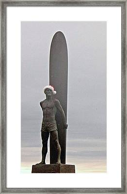 Framed Print featuring the photograph Surfer Santa  by Lora Lee Chapman