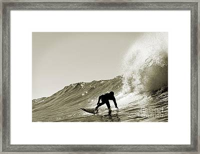 Surfer Sepia Silhouette Framed Print by Paul Topp