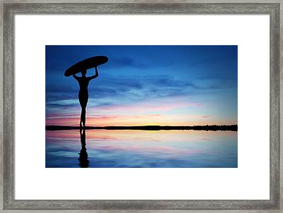 Surfer Silhouette Framed Print by Aged Pixel