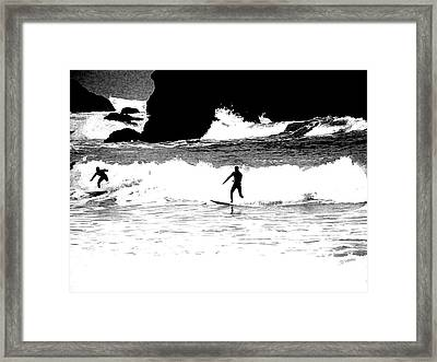 Surfer Silhouette Framed Print by Kathy Churchman