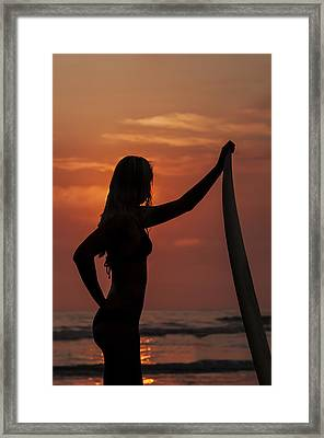 Surfer Sunset Silhouette Framed Print