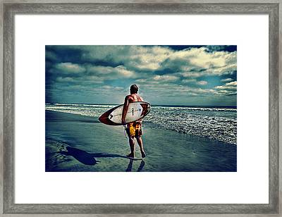 Surfer Walking The Beach Framed Print by James David Phenicie
