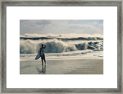 Surfer Watch Framed Print by Laura Fasulo
