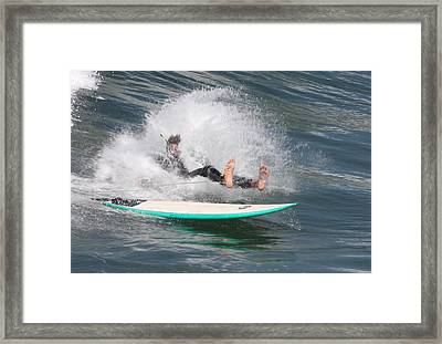 Surfer Wipeout Framed Print by Nathan Rupert