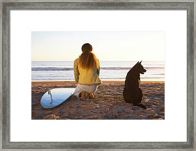Surfer Woman And Dog On Beach Framed Print