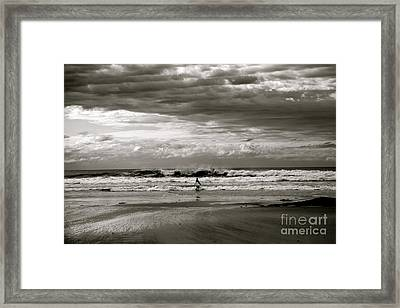 Surfers B And W Framed Print by Colleen Mars