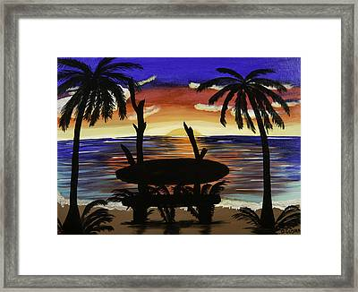 Surfers Bench Framed Print by Donna Guzman