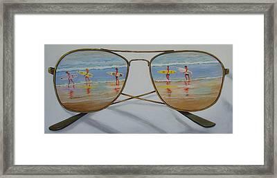 Surfers Framed Print by Brenda Gordon
