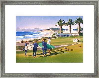 Surfers Gathering At Del Mar Beach Framed Print by Mary Helmreich