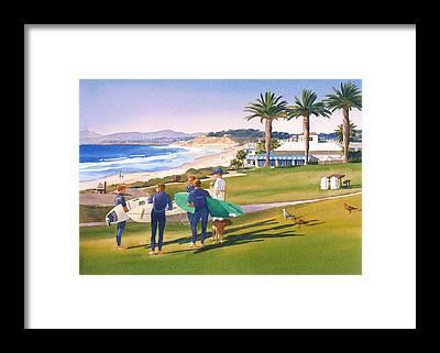 Surfing Framed Prints