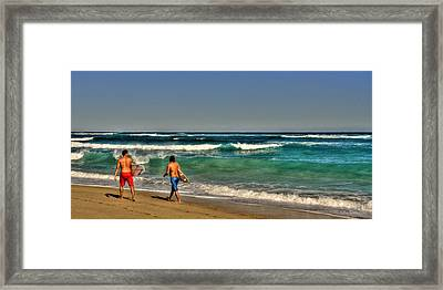 Framed Print featuring the photograph Surfers by Julis Simo