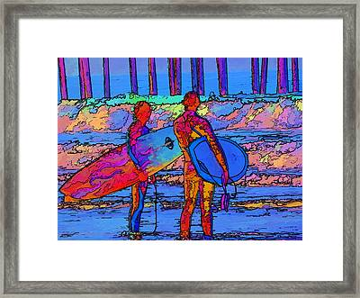 Surfers Framed Print by Kathy Churchman