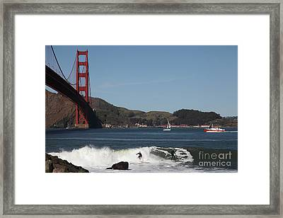 Surfers Near The San Francisco Golden Gate Bridge 5d21664 Framed Print by Wingsdomain Art and Photography