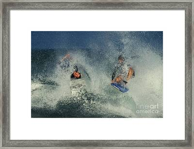 Surfers, Oahu Framed Print by Ron Sanford