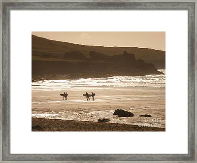 Surfers On Beach 02 Framed Print by Pixel Chimp
