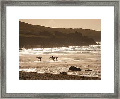 Surfers On Beach 02 Framed Print