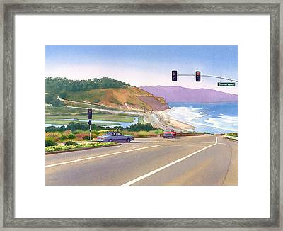 Surfers On Pch At Torrey Pines Framed Print by Mary Helmreich